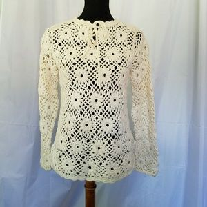 Vintage White Floral Handmade Crocheted Sweater